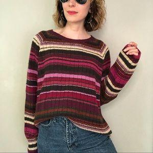 Chunky wool knit oversized striped grandpa sweater